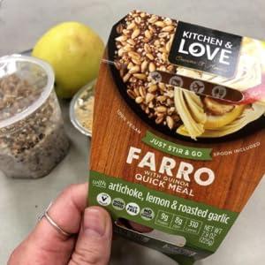 artichoke lemon roasted garlic farro quinoa quick meal lunch protein fiber