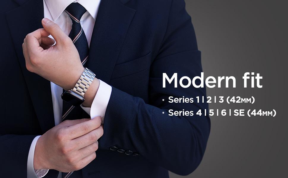 Amazon.com: Spigen Modern Fit Designed For Apple Watch Band for 42mm/44mm Series 6/SE/5/4/3/2/1 - Silver