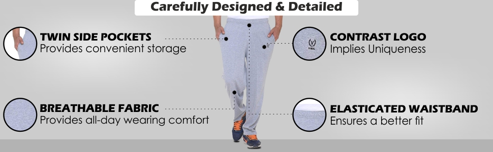 VIMAL Men's Grey Cotton Trackpants