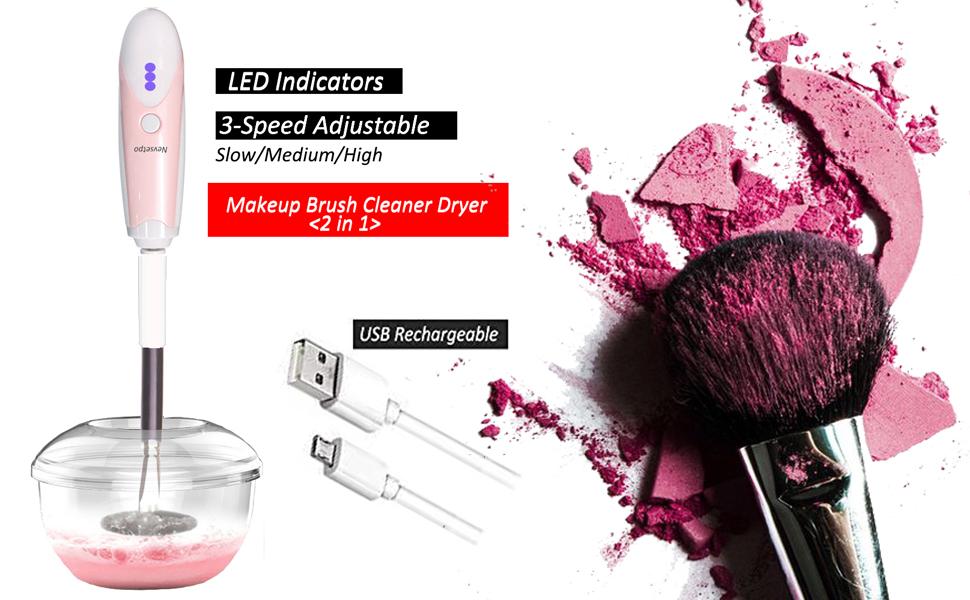 cepillo de maquillaje limpiador y secador