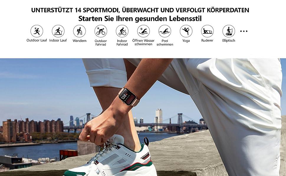 smartwatch damen 14 sport modi