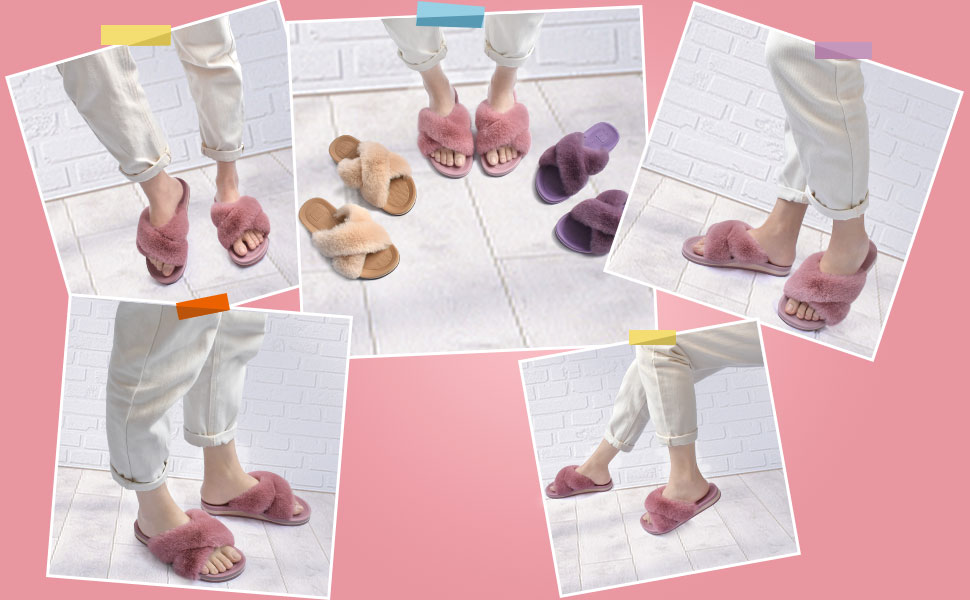 womens fluffy faux fur slippers
