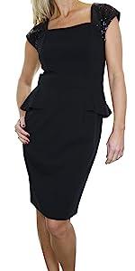 Women's Sequin Strap Pencil Peplum Dress