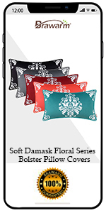 Damask Floral Bolster Pillow Covers