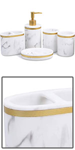 White Gold Bath Accessories Set