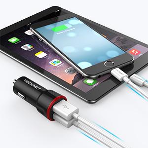 TECKNET Cargador de Coche Puerto USB Dual (5V/4.8A/24W), Adaptador de Coche, Carga Rápida con Tecnología BLUETEK, Compatible con iPhone, iPad, Galaxy, ...