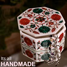 Handmade Marble Inlaid Semiprecious Gemstones Decorative Ring Boxes for Valentines and Wedding Gifts
