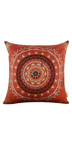 "LINKWELL 18""x18"" Retro Red Boho Bohemian Geometry Burlap Pillow Covers"