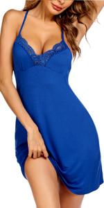 Lingerie Sleepwear Chemises V-Neck Nightgown Full Slip Lace Lounge Sleepwear Dress