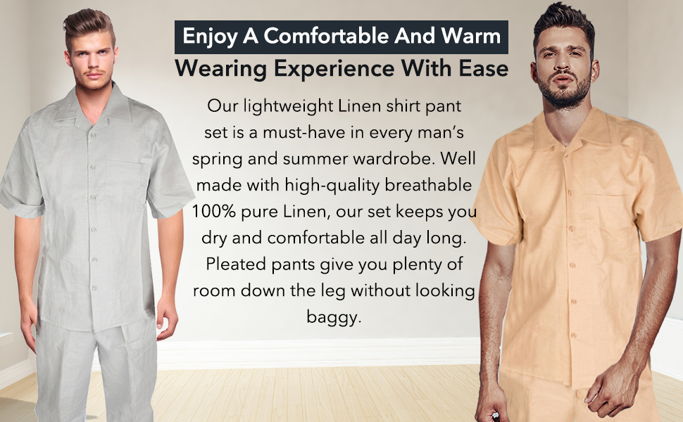 Our shirt and pant set is made of 100% pure linen