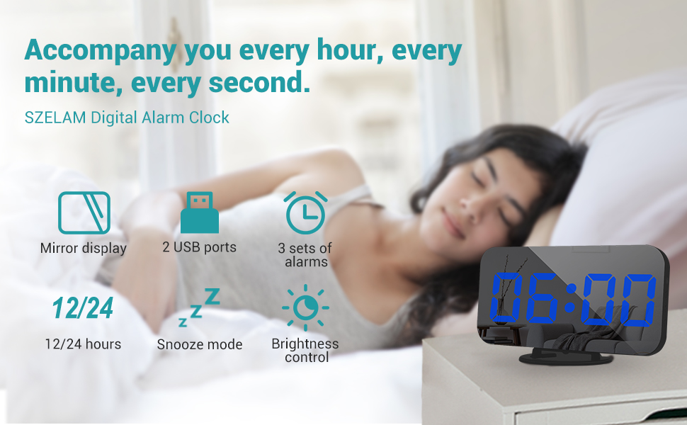 alarm clock black blue