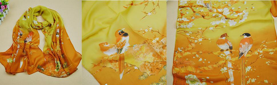 women's fashion scarf yellow scarf solid color chiffon scarf high quality flower floral scarf soft