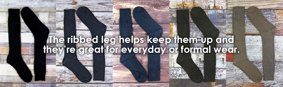 3 Pairs Mens Quality Long Knee High Length 100% Cotton Socks