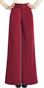 Stretch Wrinkle Free Boot Cut High Waist Wide Leg Work Pant with Pockets