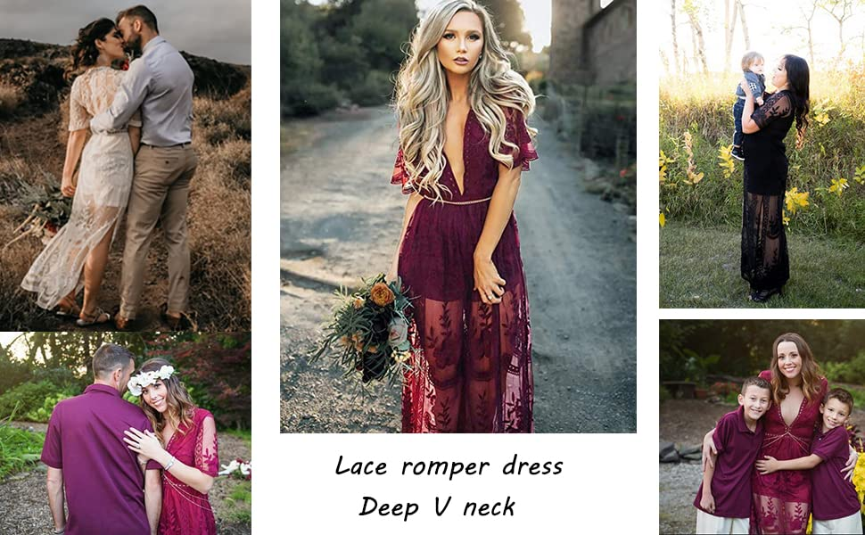 Women's Sexy Deep V-Neck Short Sleeve See-Through Lace Prom Dress Jumpsuit Romper Dress