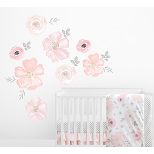 Blush Pink, Grey and White Large Peel and Stick Wall Decal Stickers Art Nursery Decor 2 Sheets