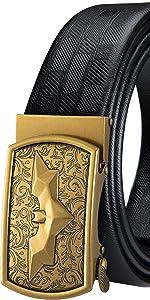 black leather mens belt gold automatic buckle sliding ratchet batman business belt large size belt