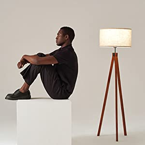 Brightech Eden Tripod LED Floor Lamp Mid Century Dimmable Modern Light for Contemporary Living Rooms