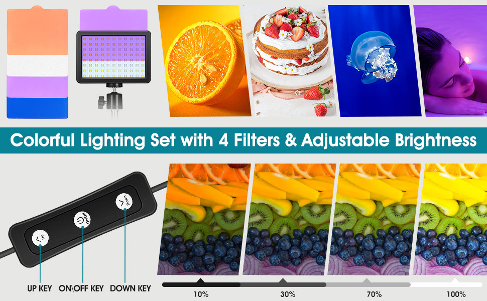 studio lighting ket with 10 Brightness & 4 Color Filters