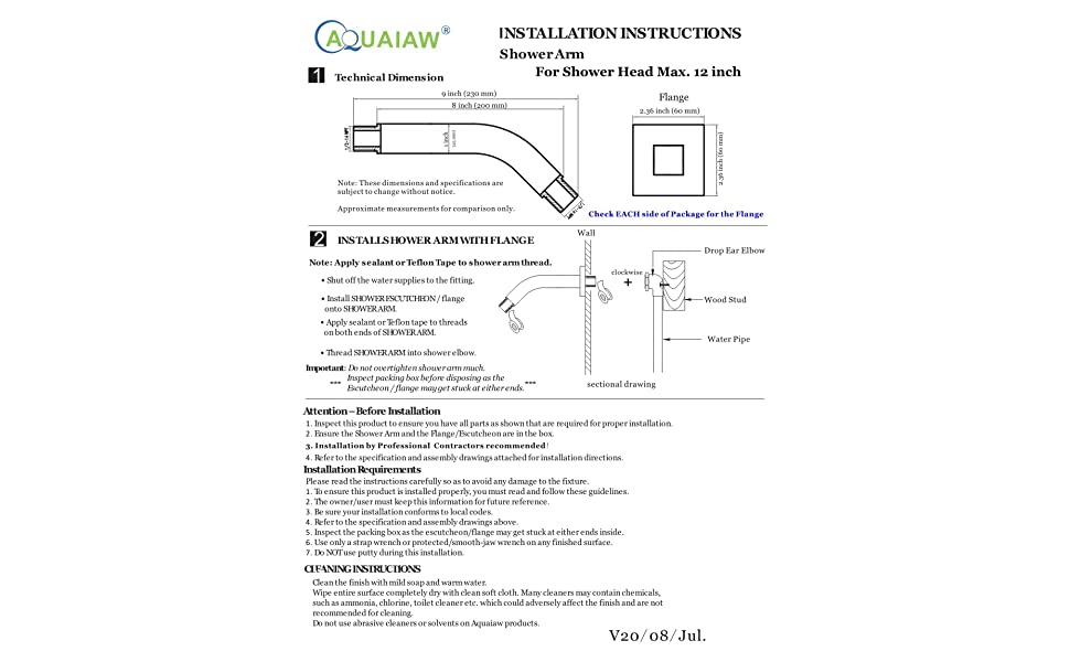 Aquaiaw shower arm and escutcheon, solid brass, 8 inch square wall mount, installation instruction