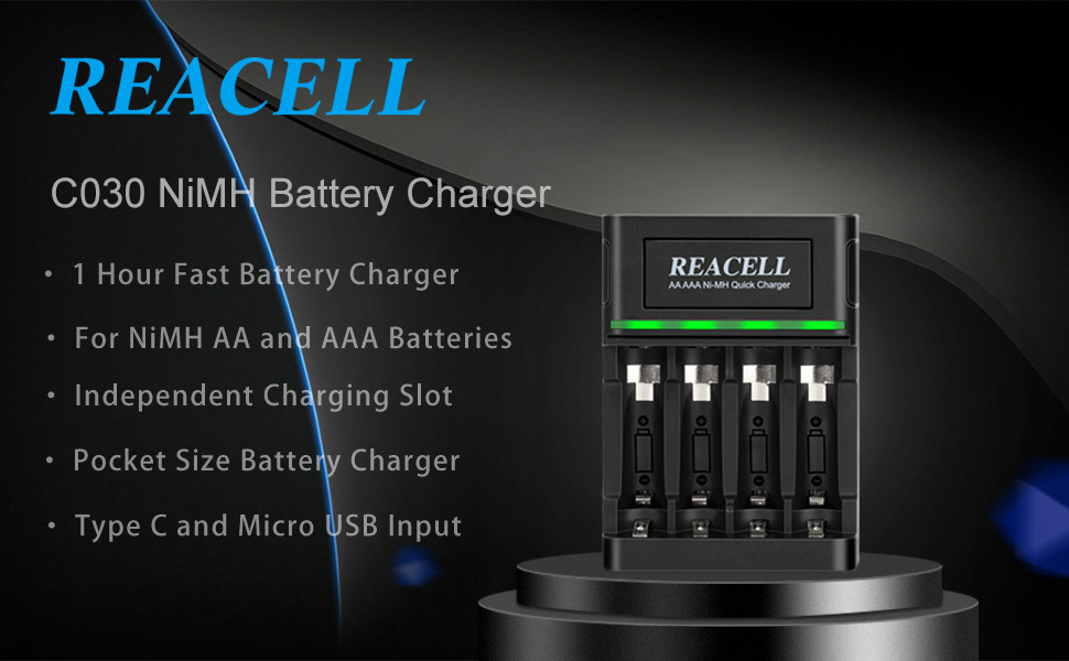 REACELL 1-Hour Fast Battery Charger for NiMH AA AAA Batteries 4 Bays Battery Charger for AA AAA Rechargeable Batteries with 2 USB Input Port