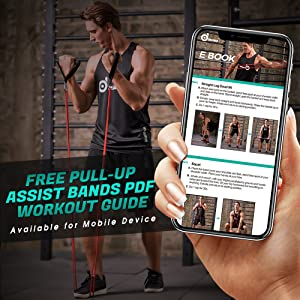 Odoland 5 Packs Pull Up Assist Bands, Pull Up Straps, Resistance Bands with  Door Anchor and Handles, Stretch Mobility, Powerlifting and Extra Durable