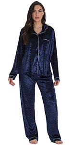 Just Love pajamas pajama set pj lounge loungewear jammies velvet velour button front notch collar