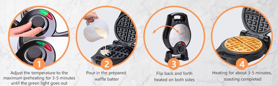 cook waffle breakfast at home pumpkin waffle maker flip Halloween waffle maker thin egg small kids
