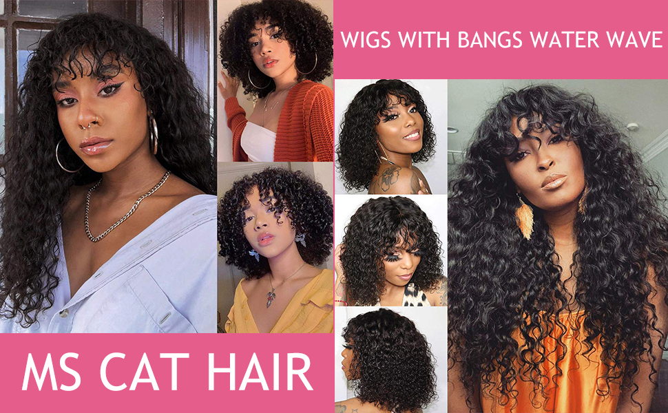 Water Wave Hair Wigs with Natural Bangs