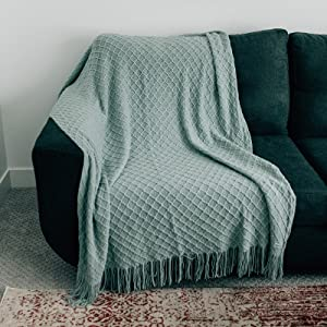 5060 Large Soft chic acrylic fringe tassle Home Throw Blanket by Graced Soft Luxuries 50x60 large
