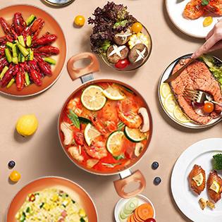 KUTIME Non-Sick Pots and Pans Set Ceramic Coating Frying Pan Grill Pan Sauce Pan