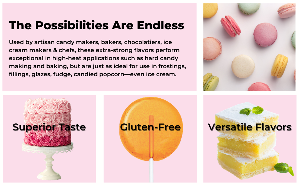 features of super strength flavors candy making pastry bakery chef popcorn ice cream frosting cakes