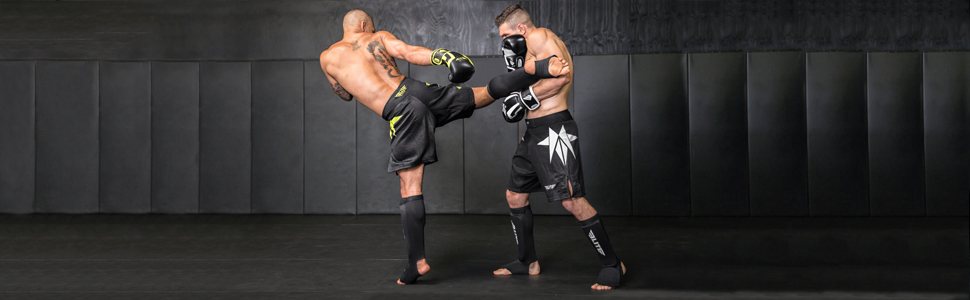 MMA Sparring Combat Corner Slip On Elastic Muay Thai Shin Guards Kickboxing