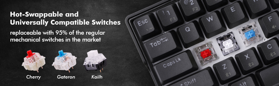 Kemove 61 mechanical keyboard black hot swappbale compatible switches cherry, gateron, Kailh