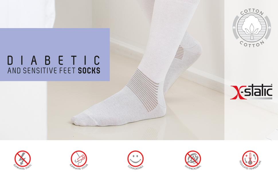 calze per diabete, x-static, x static, fibra argento, calze diabetici, calzini, gambaletti, diabete