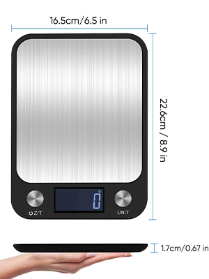 Electronic scale size
