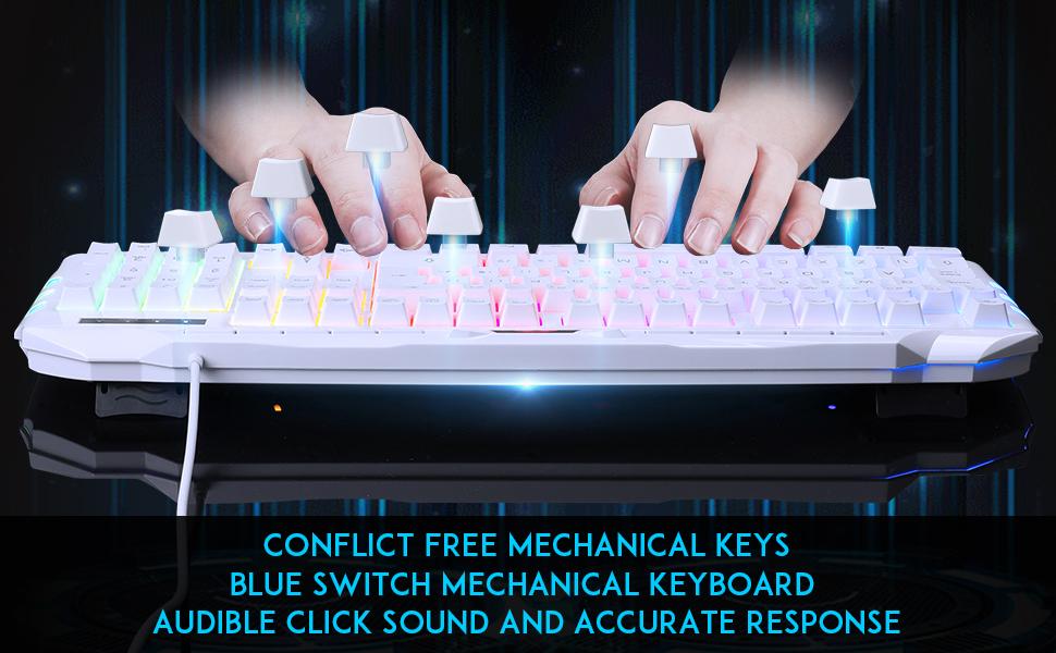 Juego de teclado para gaming GK710 Rainbow LED retroiluminado teclado y ratón Combo Set,Wired Keyboard para Xbox One USB PS4 (disposición ...