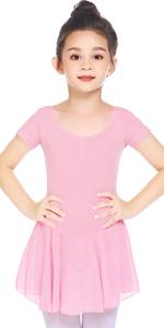 Girl's Ballet Dance Dress Short Sleeve Ballet Tutu Skirt Leotard