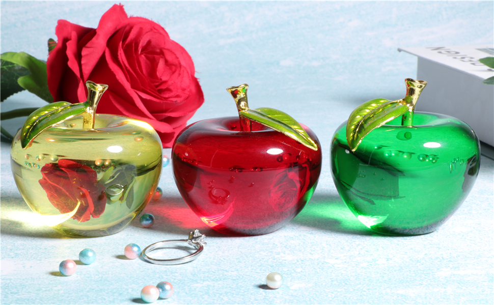 Waltz/&F Crystal Apple Paperweight Craft Decoration (Three Sets)