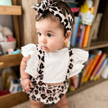 Cute Baby Girls Flying Sleeve Leopard Romper Jumpsuit With Headband