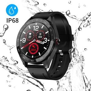 Reloj Inteligente Smartwatch IP68 Impermeable Reloj Deportivo Fitness con 1.3 Pantalla Táctil Completa Pulsómetro,Monitor Sueño Calorías ...