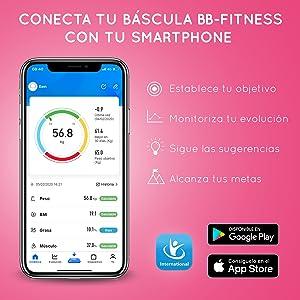 Grunkel BB-FITNESS - Báscula De Baño Fitness Con Conectividad Inalámbrica, Medición De Peso, Imc, Grasa Corporal, Gestión Con App