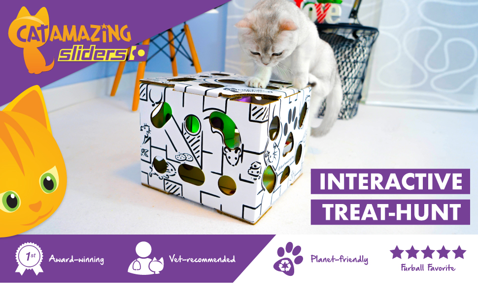 Cat Amazing SLIDERS! – Interactive Cat Toy & Puzzle Feeder - Treat Maze Puzzle Toy for Cats
