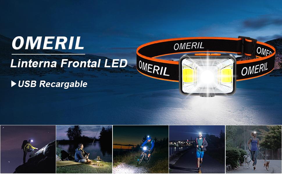 OMERIL Linterna Frontal LED USB Recargable, Linterna Cabeza Super ...
