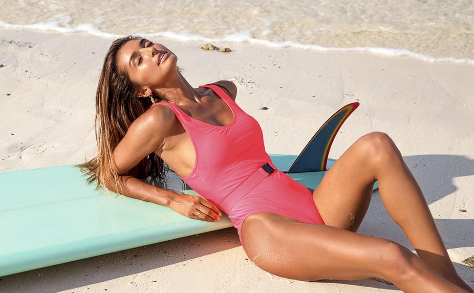 GOSOPIN V Neck Zipper Front Teddy Monokini for Women Summer Beach Bathing Swimsuit One Piece Swimwear White Orange Medium