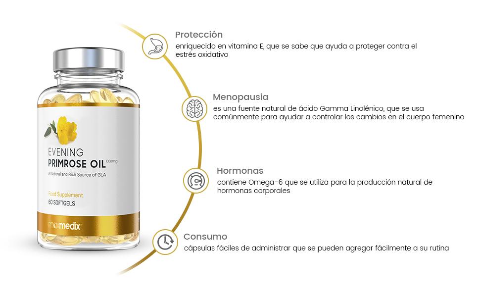 Aceite de Onagra 1000 mg - Suplemento Natural Para la Menopausia y ...