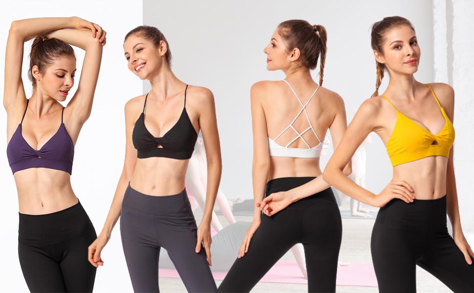 sujetador de yoga /íntimo para mujer RoSoy Sujetador deportivo transpirable con cremallera frontal antigolpes sin hilos para correr