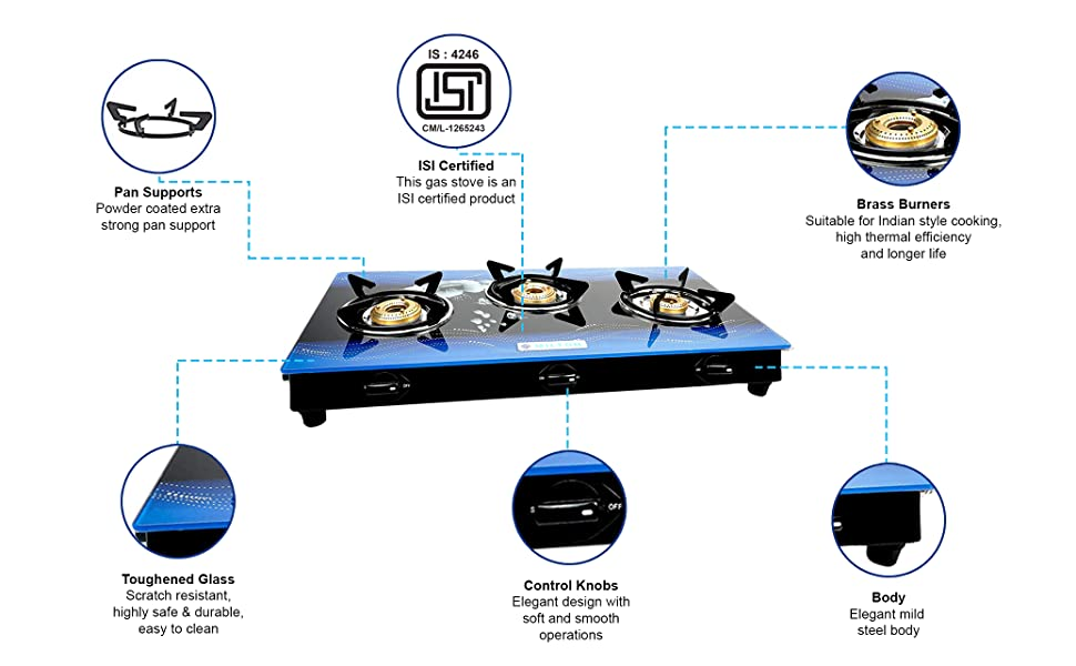 3 burner gas stove glass top, stainless steel gas stove, glass top gas stove, steel gas stove