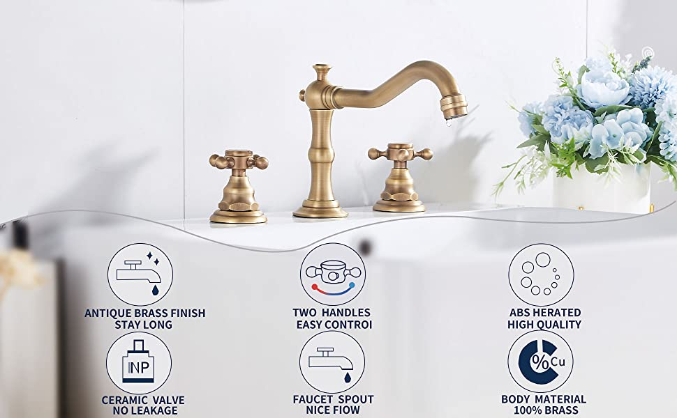 antique brass bathroom sink faucet