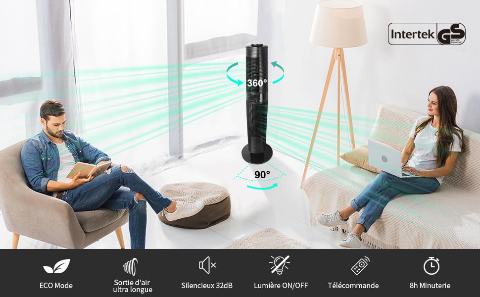 Le ventilateur colonne peut osciller à 360°